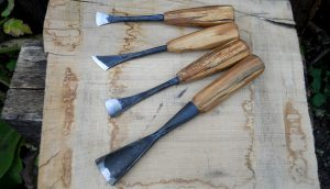 Medieval-style woodcarving tools, blades forged by Dave Budd
