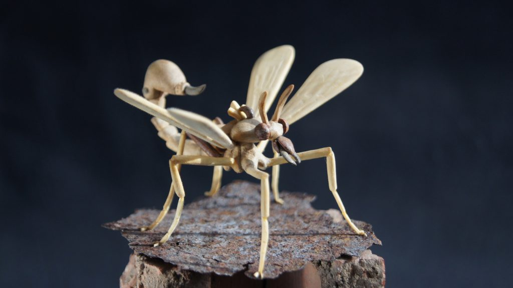 Carved wooden insect HI-MEMS