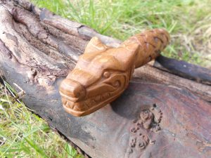 norse wolf's head carving