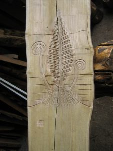 wooden carved fern leaf