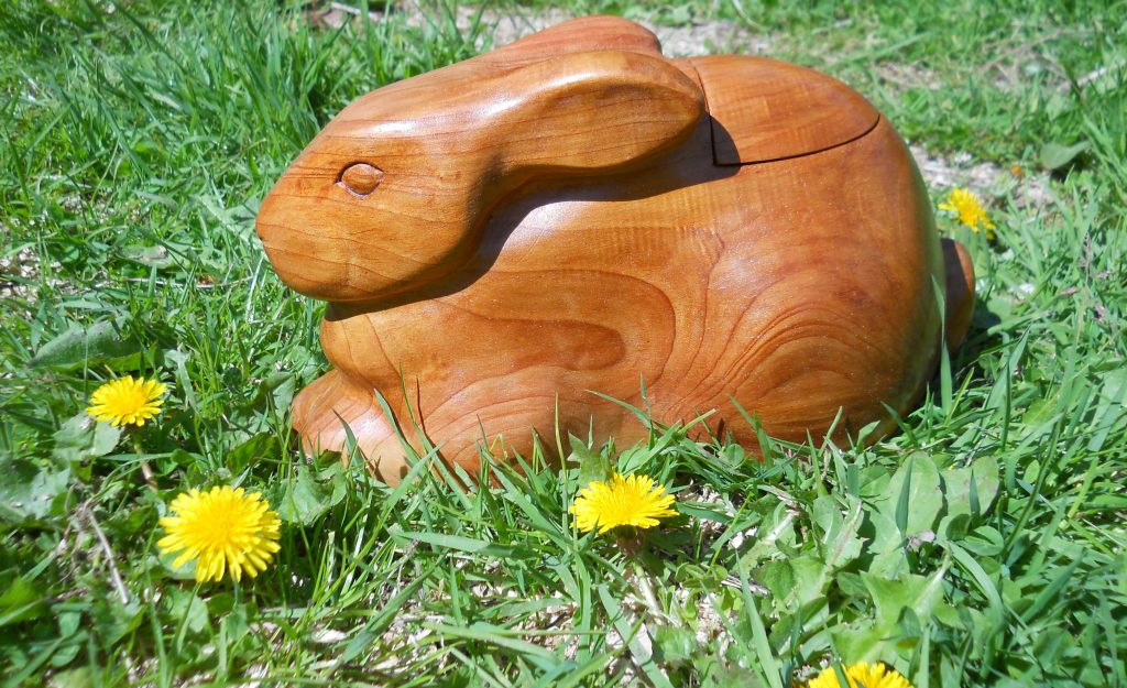 carved wooden rabbit