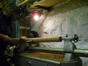 Woodturning on a Myford ML8 lathe