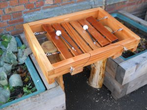 Playground xylophone made from reclaimed timbers